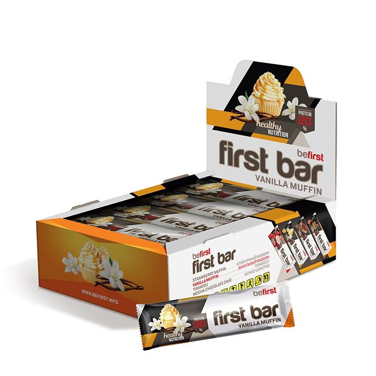 Be First Протеиновый батончик First bar по 40 гр (ваниль)